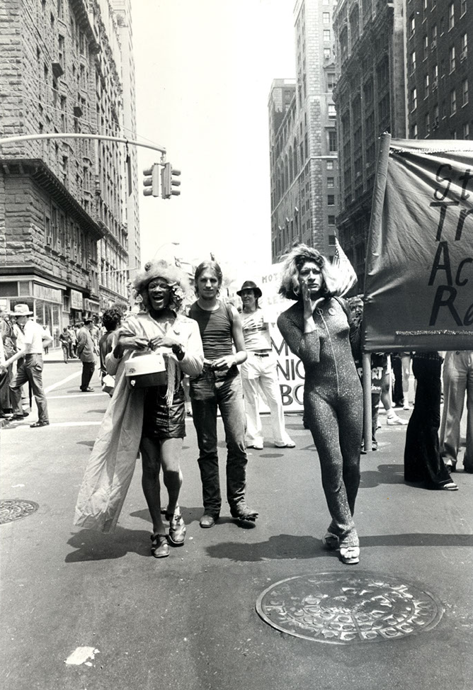 Radical Drag, Gay Pride parade, New York, June 24, 1973. Photo by Leonard Fink, LGBT Community Center National History Archive.